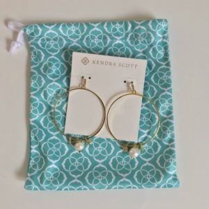 Kendra Scott hoops with pearl, charm and crystal